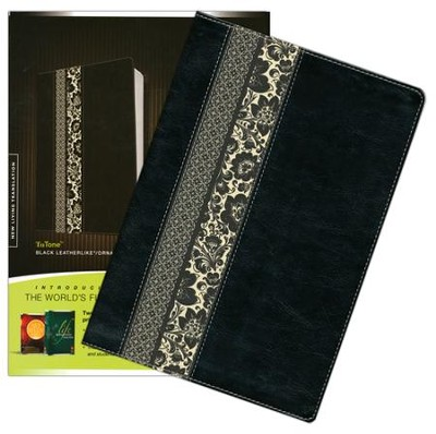 NLT Study & Life Application Parallel Study Bible Indexed Tutone Black Ornate Floral Fabric  -