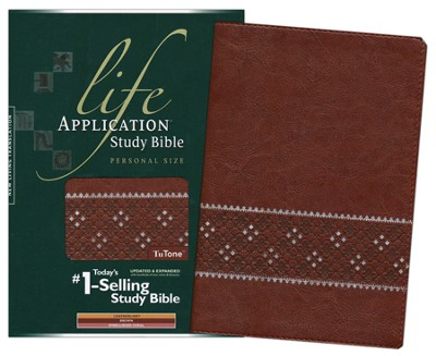 NLT Life Application Study Bible, Personal Size TuTone Brown/Embellished Coral Indexed Leatherlike  -