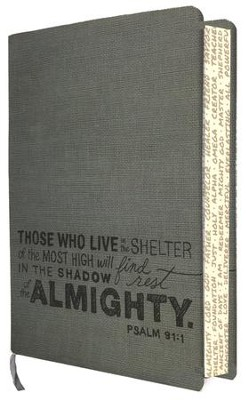NLT Teen Slimline Bible, Psalm 91 Charcoal Leatherlike  -