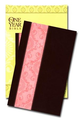 The NLT One Year Bible for Women, TuTone Mocha/Coral Leatherlike - Imperfectly Imprinted Bibles  -