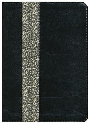 NLT Life Application Study Bible Large Print, TuTone Black/Ivory Flower LeatherLike  -