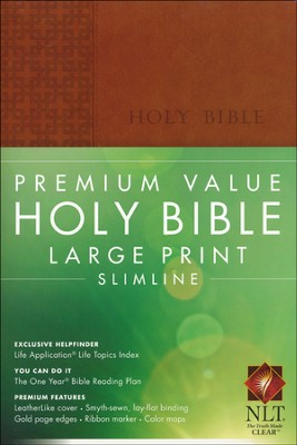 NLT Premium Value Large Print Slimline Bible, Brown Leatherlike  -