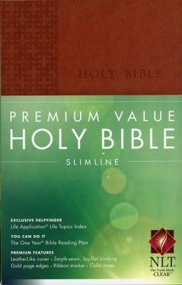 NLT Premium Value Slimline Bible, Brown Leatherlike  -