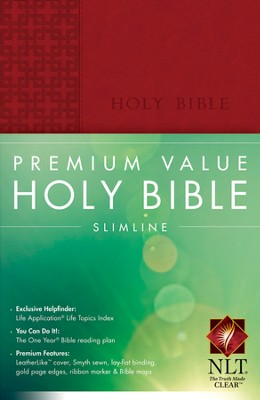 NLT Premium Value Slimline Bible, Brick Red Leatherlike  -