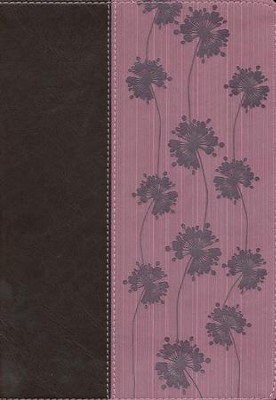 NLT Life Application Study Bible, TuTone Dark Brown / Pink Flowers Imitation Leather  -