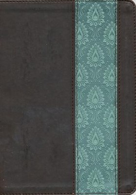 NKJV Life Application Study Bible, TuTone Dark Brown / Teal Imitation Leather - Slightly Imperfect  -
