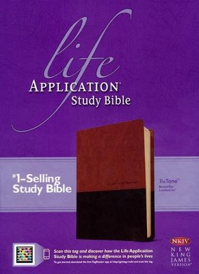 NKJV Life Application Study Bible, TuTone Leatherlike Brown/Tan Indexed  -