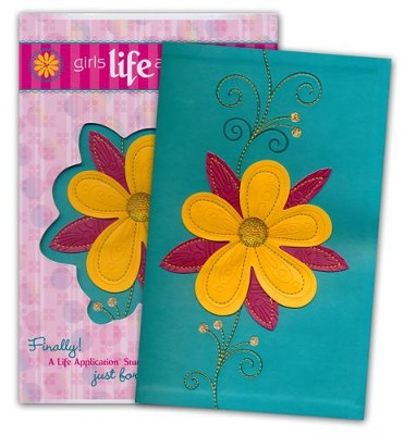 NLT Girls Life Application Study Bible, TuTone Teal / Glittery Gold Blossom Imitation Leather  -