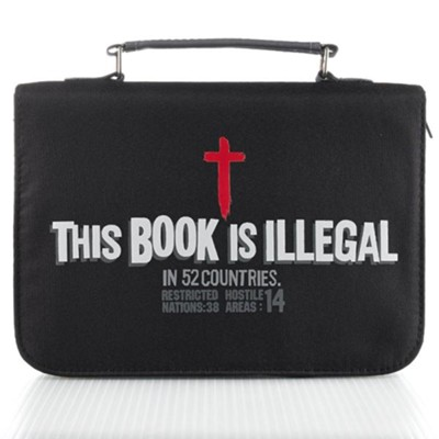 This Book is Illegal Bible Cover, Black, Medium  -