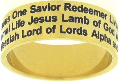Names of Jesus Ring Gold Size 7  -