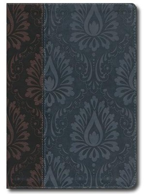 NLT Premium Slimline Reference Large Print, TuTone Leatherlike Dark Brown/Dusty Blue  -