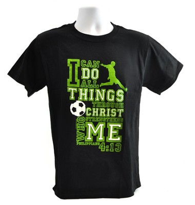 I Can Do All Things Shirt, Soccer, Black, Extra Large  -