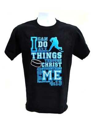 I Can Do All Things Shirt, Hockey, Black, Large  -