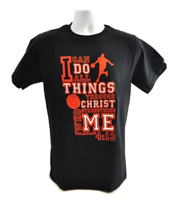 I Can Do All Things Shirt, Basketball, Black, XX Large  -