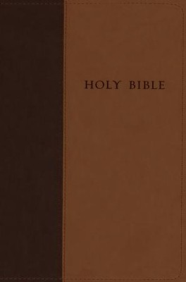 NLT Premium Value Large-Print Slimline Bible--soft leather-look, brown/tan  -