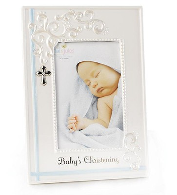 Baby's Christening Photo Frame, Blue  -