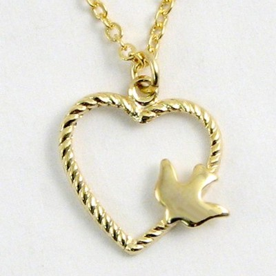 Heart Dove Necklace  -