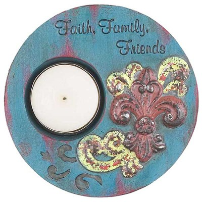 Faith, Family, Friends Tea Light Holder, Blue  -