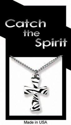 Cross Zebra Print Necklace   -