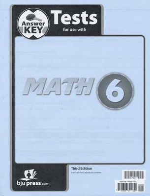BJU Math Grade 6 Test Pack Answer Key (Third Edition)    -