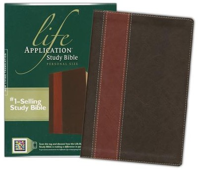 NLT Life Application Study Bible, Personal Size Leatherlike brown & tan indexed  -