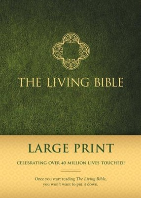 Living Bible: Large Print, Green Padded Hardcover  -