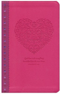 NLT Girls Life Application Study Bible, Pink Heart Imitation Leather - Imperfectly Imprinted Bibles  -