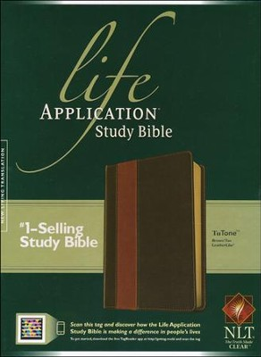 NLT Life Application Study Bible Leatherlike brown & tan indexed  -