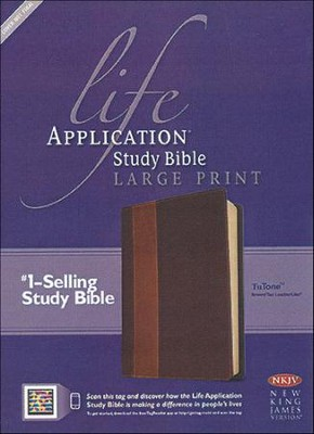 NKJV Life Application Study Bible. Large Print, Brown and Tan Imitation Leather, Indexed - Imperfectly Imprinted Bibles  -