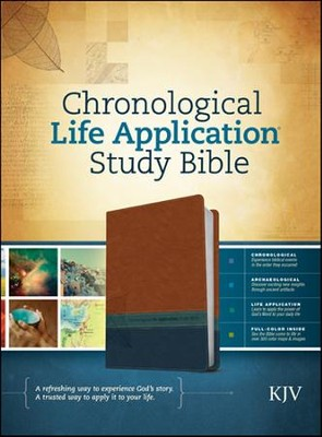 KJV Chronological Life Application Study Bible, Brown/Dark Teal/Blue LeatherLike  -