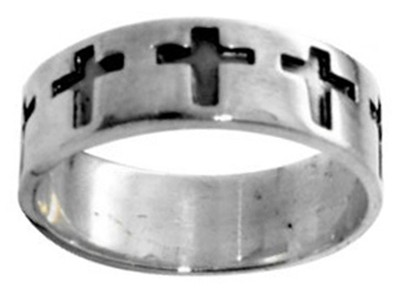 Enameled Cross Stainless Steel Ring, Size 7  -