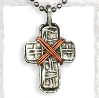 Cross and Copper Wire Pendant, on Beaded Chain  -