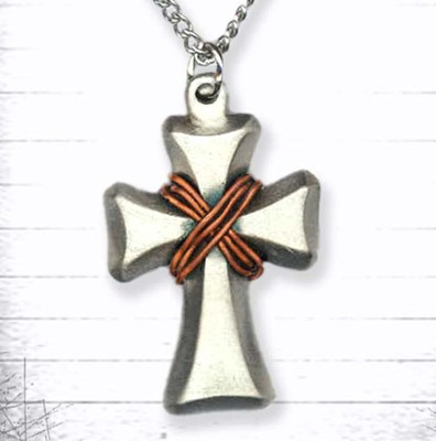 Open Cross and Copper Wire Pendant  -