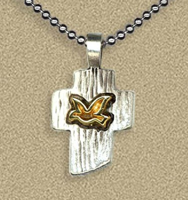 Two Tone Cross with Dove Pendant on Beaded Chain  -