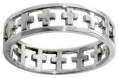 Cutout Cross Stainless Steel Ring, Size 10  -