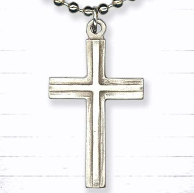 Beveled Cross Pendant, on Beaded Chain  -