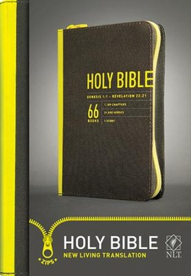 NLT Zips Bible, Canvas Cover with yellow zipper  -