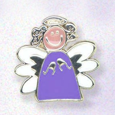 Whimsical Angel Lapel Pin, Purple  -