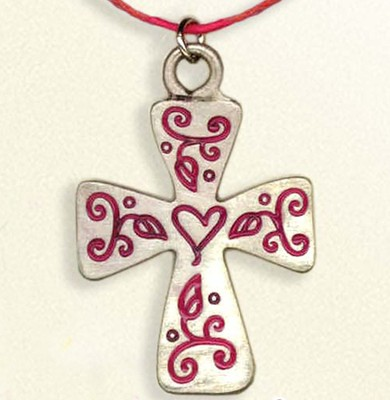 Floral Cross Necklace, on Red Cord  -