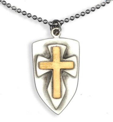 Two Tone Shield with Cross Pendant, on Beaded Chain  -