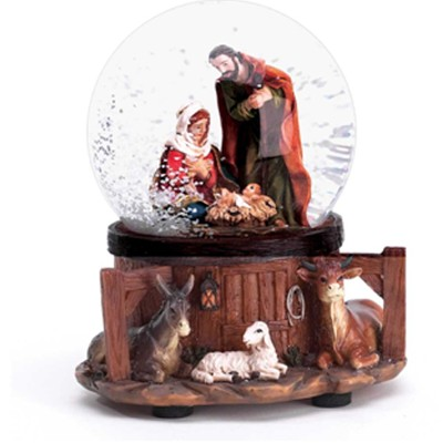 Musical Nativity Waterglobe, Silent Night  -
