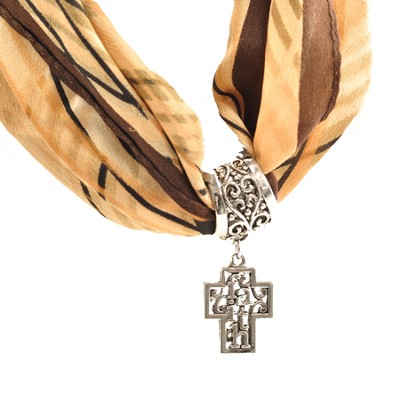 Antique Silver Scarf Slide, with Filigree Faith Cross  -