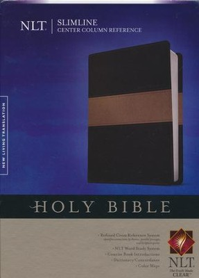 NLT Slimline Center Column Reference Bible, TuTone Black/Taupe LeatherLike  -