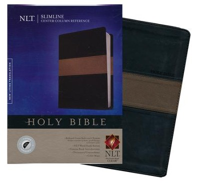 NLT Slimline Center Column Reference Bible, TuTone Black/Taupe Indexed LeatherLike  -