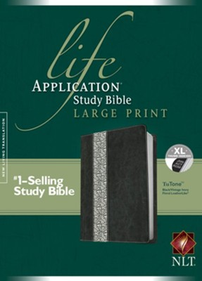 NLT Life Application Study Bible: Large Print, Tutone Back/Vintage Ivory Floral Leatherlike, Indexed  -