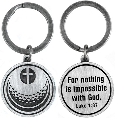 For Nothing is Impossible Golf Ball and Cross Keyring  -