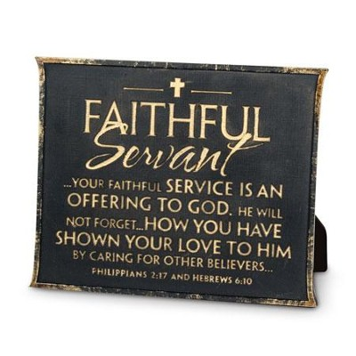 Faithful Servant Plaque, Black  -