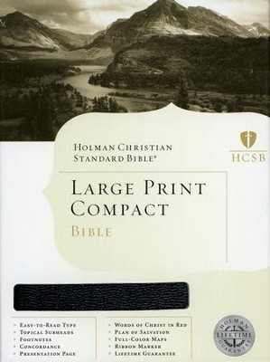 HCSB Large Print Compact Bible, Black Bonded Leather   -