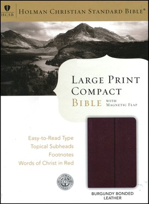 HCSB Large Print Compact Bible, Burgundy Bonded Leather   -