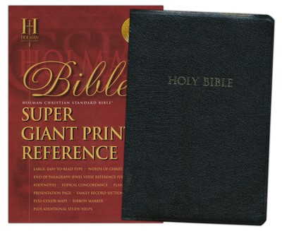 HCSB Super Giant Print Reference Bible, Bonded Leather, black   -